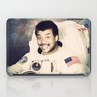 neil gaiman iPad Cases featuring Neil deGrasse Tyson - Astronaut in Space by Nicholas Redfunkovich