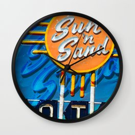 Sun and Sand on Route 66 Old Sign Wall Clock