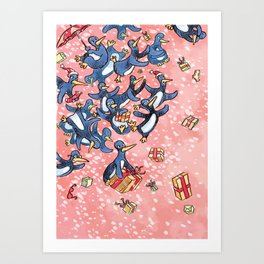 Crazy Penguin Christmas Art Print