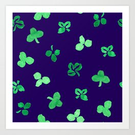 Clover Leaves Pattern on Purple Art Print