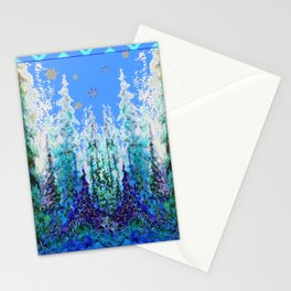 Western  Blue Modern Art Mountain Blue Winter Trees  Art Stationery Cards