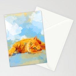 Cat Dream - orange tabby cat painting Stationery Cards