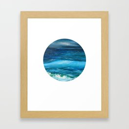 Blue seascape breeze with storm clouds. Oil painting seascape circle wall art decor. Framed Art Print