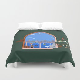 Our Hero Approaches (Green Background) - Mario Bros. Duvet Cover