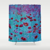poppy Shower Curtains featuring Poppy by Anne Seltmann