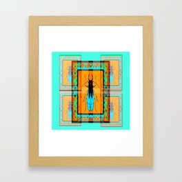 DOUBLE EXPOSURE TURQUOISE BEETLE ORANGE ART Framed Art Print