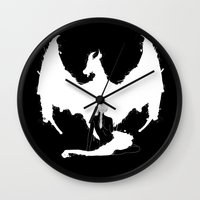 mother of dragons Wall Clocks featuring Mother of Dragons by Lily's Factory