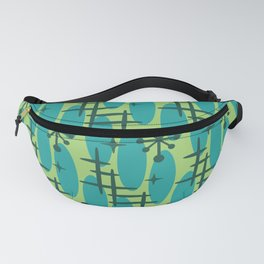 Retro Mid Century Modern Cosmic Surfer Pattern 231 Chartreuse Green and Turquoise Fanny Pack