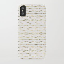 White & Gold Arrow Pattern iPhone Case