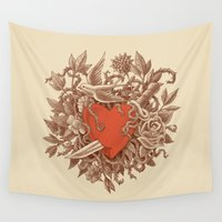 marc Wall Tapestries featuring Heart of Thorns  by Terry Fan