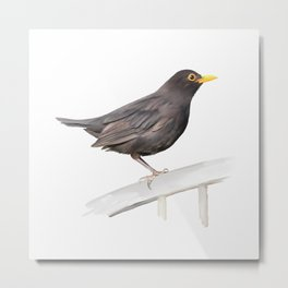 Ms. Blackbird is Brown Metal Print