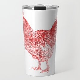 red rooster drawing, red Travel Mug