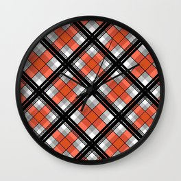 Black and orange plaid Wall Clock
