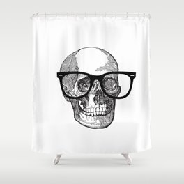 I die hipster - skull Shower Curtain