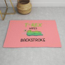 T-Rex Hates Backstroke Funny Swimming Dinosaur Rug