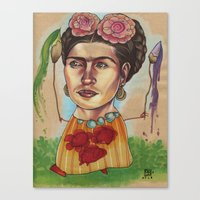frida Canvas Prints featuring FRIDA by busymockingbird