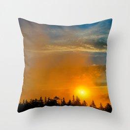 Gold Mist Sunset Throw Pillow
