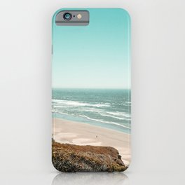 Beach Horizon | Teal Color Sky Ocean Water Waves Coastal Landscape Photograph iPhone Case