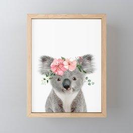 Baby Koala with Flower Crown Framed Mini Art Print