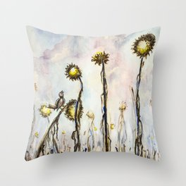 Bird Sings the Sunflower Blues Throw Pillow