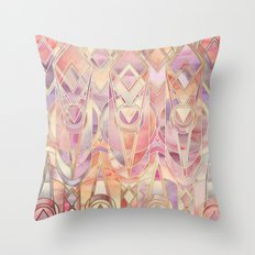 Glowing Coral and Amethyst Art Deco Pattern Throw Pillow