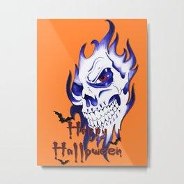 Halloween Skull, happy Halloween, demonic face, ghost, spooky, horror artwork Metal Print
