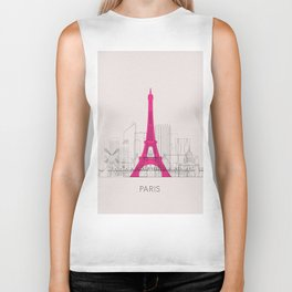 Paris Landmarks Poster Biker Tank