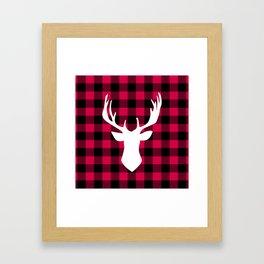 Winter Plaid Deer Framed Art Print