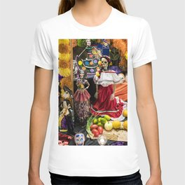Day of the Dead Altar with Several Skeleton Ladies, Food Offerings, and Marigolds T-shirt
