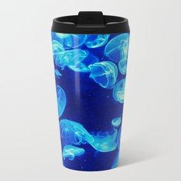Jellyfish in blue Metal Travel Mug