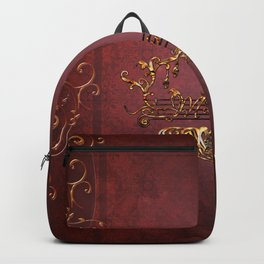 Music, clef with key notes on red background Backpack