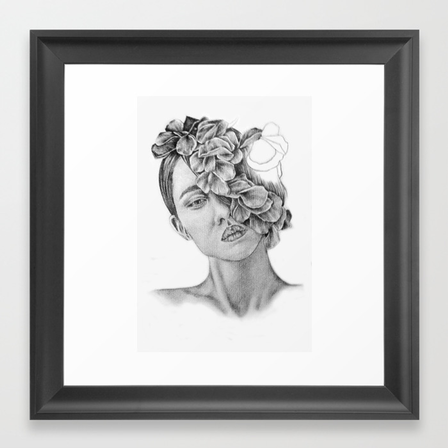 Art pencil drawing illustration portrait model flowers gift wall decor framed art print