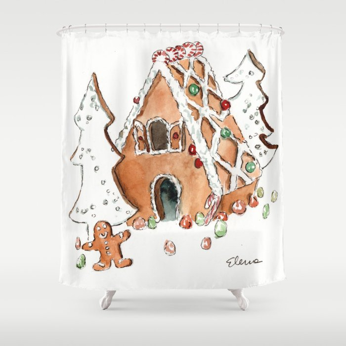 Gingerbread House Shower Curtain By Elenasandovici