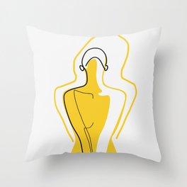 Sun Kissed Shy Girl Throw Pillow