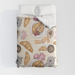 Good Morning Strawberries, Croissants And Coffee Pattern Comforters