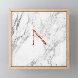 Monogram rose gold marble N Framed Mini Art Print