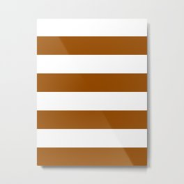 Wide Horizontal Stripes - White and Brown Metal Print