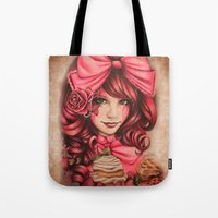 strawberry Tote Bags featuring Strawberry  by Sheena Pike ART