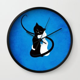 White And Black Cats In Love Wall Clock