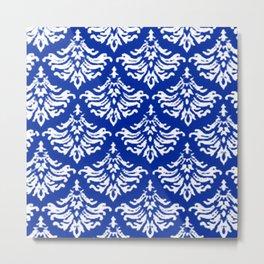 Vintage Damask Brocade Sapphire Blue Metal Print