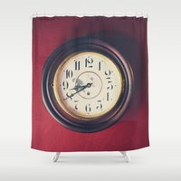 wall clock Shower Curtains featuring Old wall clock by Elisabeth Coelfen