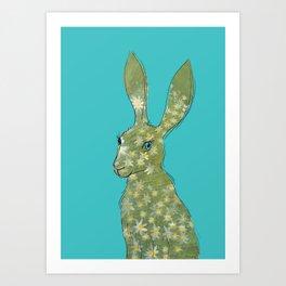 Esmeralda Hare with daisies Art Print