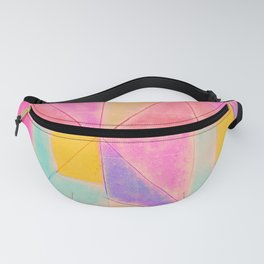 Geometric Abstract Hand Painted Pink Lilac Teal Triangles Fanny Pack