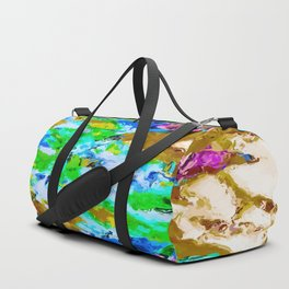 psychedelic splash painting abstract texture in brown green blue pink Duffle Bag