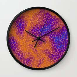 Stained glass texture of snake orange leather with dark heat spots. Wall Clock