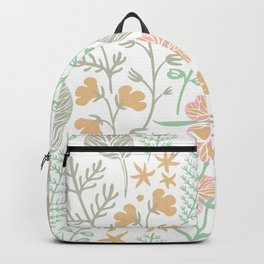 Decorative green floral pattern Backpack