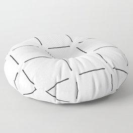 Block Print Simple Squares in Black & White Floor Pillow