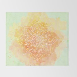 Watercolor Mandala // Sunny Floral Mandala Throw Blanket