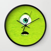 monster inc Wall Clocks featuring Monster Inc Mike by Veylow