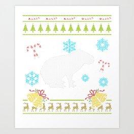 Pet Capybaras Christmas Sweater Shirt Art Print